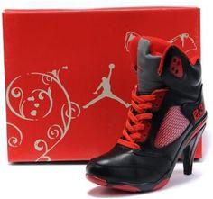 1dc1933d67b07 asneakers4u.com Air Jordan 5 High Heels Women Red Black Red Sneakers