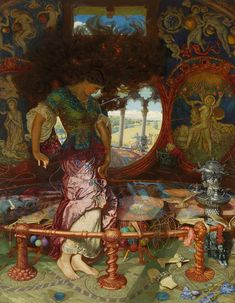 Holman-Hunt, William, and Hughes, Edward Robert - The Lady of Shalott - 1905 - Textiles in mythology and folklore - Wikipedia