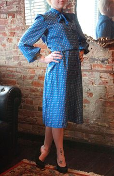M/L Dress. Blue. Secretary. Polka Dot. 70s 80s found byLB $18.00
