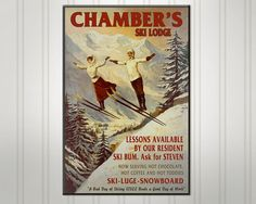 Personalized Ski Lodge Sign Custom Ski by SimplySublimeGifts