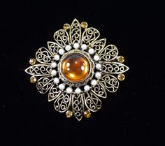 "Vintage Filigree Brooch - C Clasp - Rhinestones, Faux Pearl - 2"" in Size"