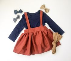 25ade0140 Fall colors suspender skirt for babies and toddlers. Handmade and perfect  for warmer weather or