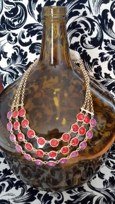 Jewel- tone necklace with matching necklace