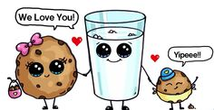 ( ^o^ ) Milk & Cookies Family Cute Food Drawings, Sweet Drawings, Cute Kawaii Drawings, Cute Animal Drawings, Doodle Drawings, Easy Drawings, Chibi Kawaii, Kawaii Art, Kawaii Anime