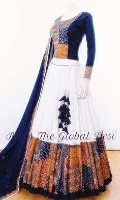 Chaniya Choli for navratri - latest designer collection - garba chaniya choli( gamthi ,katchi ,patch work ,silk ,cotton )navratri Indian Fashion Dresses, Dress Indian Style, Indian Designer Outfits, Indian Outfits, Western Outfits, Skirt Fashion, Women's Fashion, Indian Lehenga, Indian Gowns