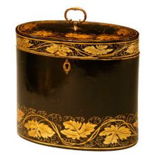 Tea caddy...looks like gold leaf