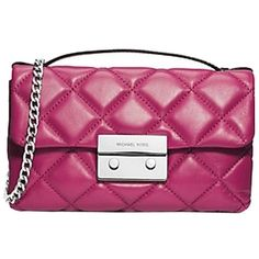 Pre-owned Michael Kors 100% Quilted Leather Messenger Pink Cross Body... ($180) ❤ liked on Polyvore featuring bags, none, pink crossbody bag, crossbody bags, purple bag, messenger bags and cross body messenger bag