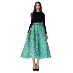 Christian Siriano | Full Skirt Tea Length Green | Tinkertailor.com