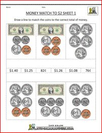 free printable money worksheets money match to 2 dollars 1 Learning Money, Kids Learning, Teaching Aids, Teaching Math, Money Worksheets, Money Problems, Learn To Count, 2nd Grade Math, Homeschooling