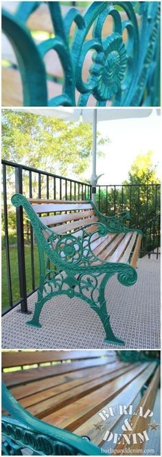 68 Ideas Metal Patio Furniture Makeover Life For – Modern Wrought Iron Bench, Cast Iron Bench, Cast Iron Garden Bench, Patio Furniture Makeover, Metal Patio Furniture, Chair Makeover, Teal Outdoor Furniture, Wrought Iron Garden Furniture, Green Furniture