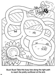 Welcome to Dover Publications-bee maze Kids Learning Activities, Color Activities, Preschool Worksheets, Infant Activities, Kindergarten Activities, Symmetry Worksheets, Coloring For Kids, Coloring Pages, Mazes For Kids Printable