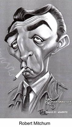 Robert Mitchum (caricature) Dunway Enterprises: http://dunway.com - http://masterpaintingnow.com/how-to-draw-everything?hop=dunway