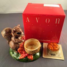 Vintage Avon Natures Friend Squirrel Fall Autumn Pumpkin Votive Candle Holder    eBay