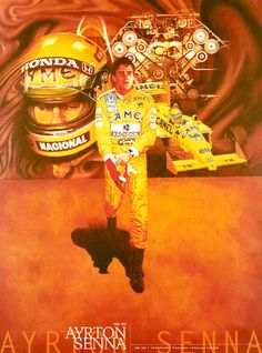 Ayrton Senna F1 Formula 1 Mclaren HONDA Lotus Williams Japan Poster Limited Rare