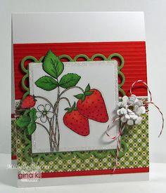 My DT card using the new GKD set, Sweet Strawberries. #ginakdesigns, #gkd, #spellbinders