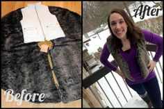 $15 tree skirt to faux fur vest!
