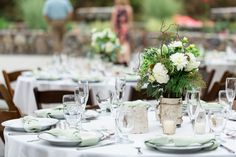 Reception Table Decor White Mint Silver Gold Simple Elegant | Centerville-Estate-Wedding-Photographer-Chico-California-TréCreative