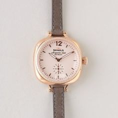 rose gold face with thin double wrap band. Shinola Gomelsky 36mm Watch | Women's Watches | Steven Alan