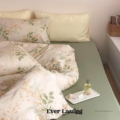 Ever Lasting Green Floral Bedding Set Green Bedding Set | Etsy Orange Bedding, Green Bedding, Floral Bedding, Queen Bedding Sets, Queen Beds, Summer Bedroom, Flat Bed, Bed Sizes, Duvet Covers