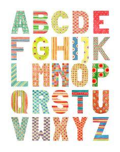 Alphabet - Watercolor patterns - uppercase by ~gb-illustrations on deviantART