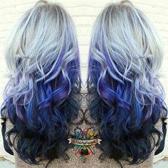 silver ombre hair color style to dark blue, wonderful Galaxy Hair Color idea~
