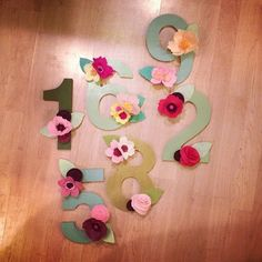 Felt Flower Table Numbers or Letters by JaxandRoxanne on Etsy $7.50 each