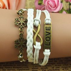 Retro leather cord Snow style fashion leather LOVE bracelets bronze | Tophandmade - Jewelry on ArtFire