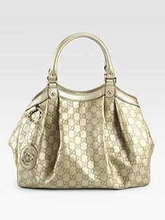 Sukey Medium Guccissima Tote Bag - Champagne, Lustrous logo-stamped leather takes on a metallic sheen in this softly-pleated carryall finished with logo hardware. Cheap Gucci Bags, Stylish Handbags, Metallic Shoes, Medium Tote, Summer Bags, My Bags, Handbag Accessories, Fashion Bags, Tote Bag