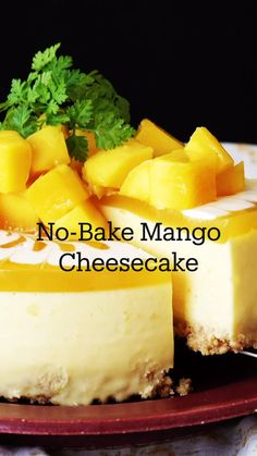 No Bake Desserts, Easy Desserts, Delicious Desserts, Dessert Recipes, Yummy Food, Breakfast Recipes, Tasty, Mango Cheesecake, Cheesecake Recipes