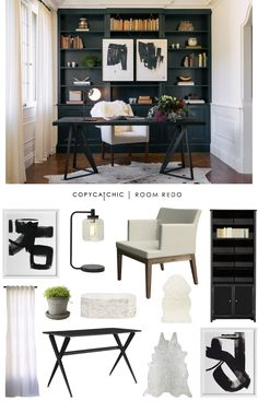 A modern, graphic office in black and white designed by Authenticity B and recreated for $2200 by Audrey C. Dyer for Copy Cat Chic