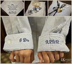 Wedding Details - Navy - Monogram Cuffs - Stitched Details **Doug McGoldrick Photography**
