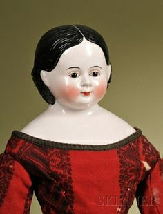 dolls, Germany, China Lady with glass eyes, Germany, circa 1870, attributed to Kloster Veilsdorf, glazed porcelain shoulder head with painte...