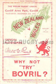 #rugby history today 21/12 in 1935 : Wales 13-12 New Zealand - All Blacks lose at Arms Park, Cardiff on rugby tour
