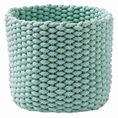 Shop Small Mint Kneatly Knit Rope Storage Bin.  While the idea of a silent K may be difficult to get a hold of, these 100% cotton bins have no trouble holding anything from toys to desk accessories.