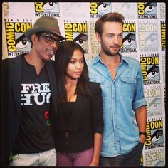 Tom Mison with Nicole Beharie & Orlando Jones from the Sleepy Hollow press room,autograph signing Headless Horseman and tumblr meetup event at San Diego Comic-Con on Friday, July 19 and Saturday, July 20