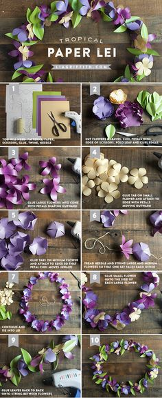 Paper Flower Lei--This would be so cute for a tropical themed party!