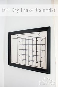 Make your own dry erase calendar with a glass picture frame and black adhesive vinyl!