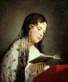 Reading Girl (1834).  Friedrich von Amerling (1803-1887).  Austro-Hungarian portrait painter in the court of Franz Josef.  Court painter between 1835 and 1880.  Most popular portrait painter of the high aristocracy and the large middle class of the Biedermeier period.