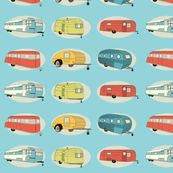 For Dave's brother's new Airstream redo -Retro Travel in Bright Aqua from Bella Modiste as seen on Spoonflower Aqua Fabric, Retro Fabric, Green Fabric, Textures Patterns, Fabric Patterns, Camper Fabric, Vintage Travel Trailers, Retro Trailers, Classic Trailers