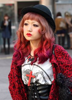 kawaii cute fashion dyed hair red japan japanese girl harajuku