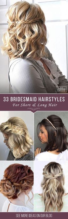 33 Hottest Bridesmaids Hairstyles For Short & Long Hair ❤ Thinking about bridesmaids wedding hairstyles for your big day? We collected elegant and popular hairdo ideas for short and long hair. See more: http://www.weddingforward.com/hottest-bridesmaids-hairstyles-ideas/ #wedding #weddinghair #bridesmaidshairstyles