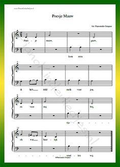 Poesje mauw - Gratis bladmuziek van kinderliedjes in eenvoudige zetting voor piano. Piano leren spelen met bekende liedjes.