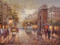 Oil Painting of Paris street  Supplier: Meisheng Oil Painting Manufacture Co.,Ltd