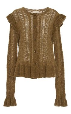 This **Ulla Johnson** cardigan features a button up design and a peplum hem.