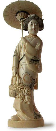 JAPANESE OKIMONO | Antique Japanese Carved Ivory Okimono Geisha
