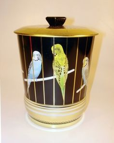 Vintage Budgie Tin Container England Seed Bird Food Treat Container Parakeet