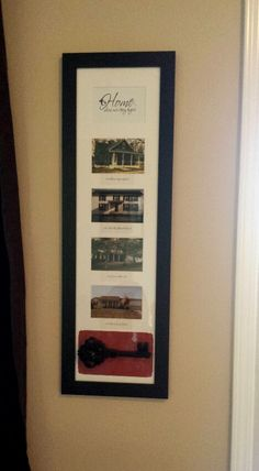 """19th wedding anniversary gift I made for my husband. Top says """"HOME, where our story begins"""" pictures are of the homes we have lived in over the last 20 years. I added a plastic key at the bottom. I found it in craft dept"""