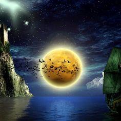 2048x2048 Wallpaper lua, pássaros, barcos, água, castelo, céu, estrelas