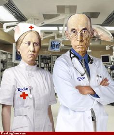 nurse and doctor american gothic
