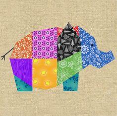 Elephant paper pieced quilt block pattern